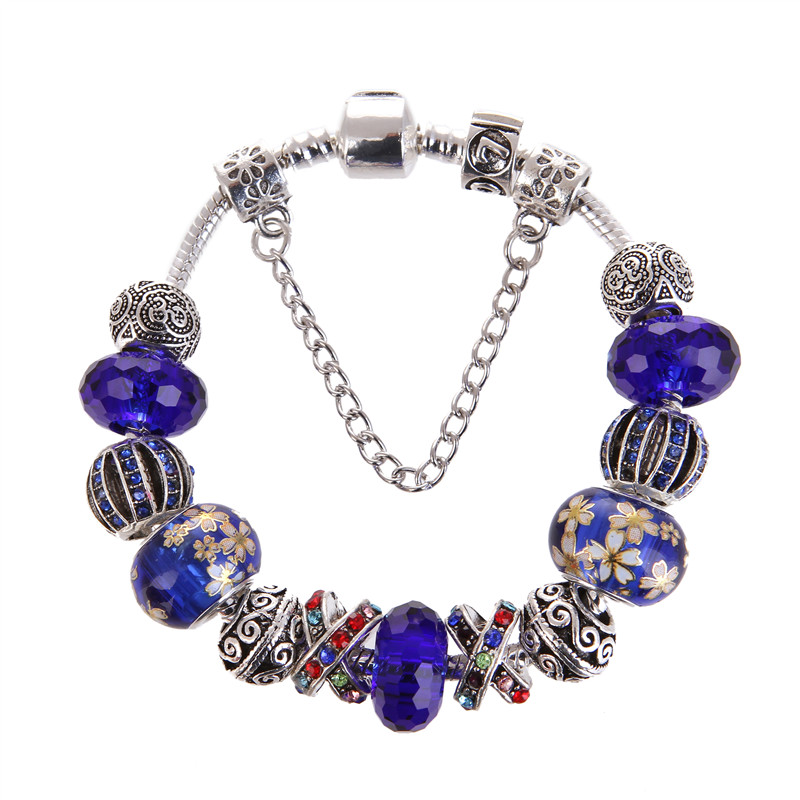 High Quality Blue Colorful crystal Beads Charm Noble Pretty Bracelet Pandora Bracelet For Women/Gril gift jewelry Drop Shipping