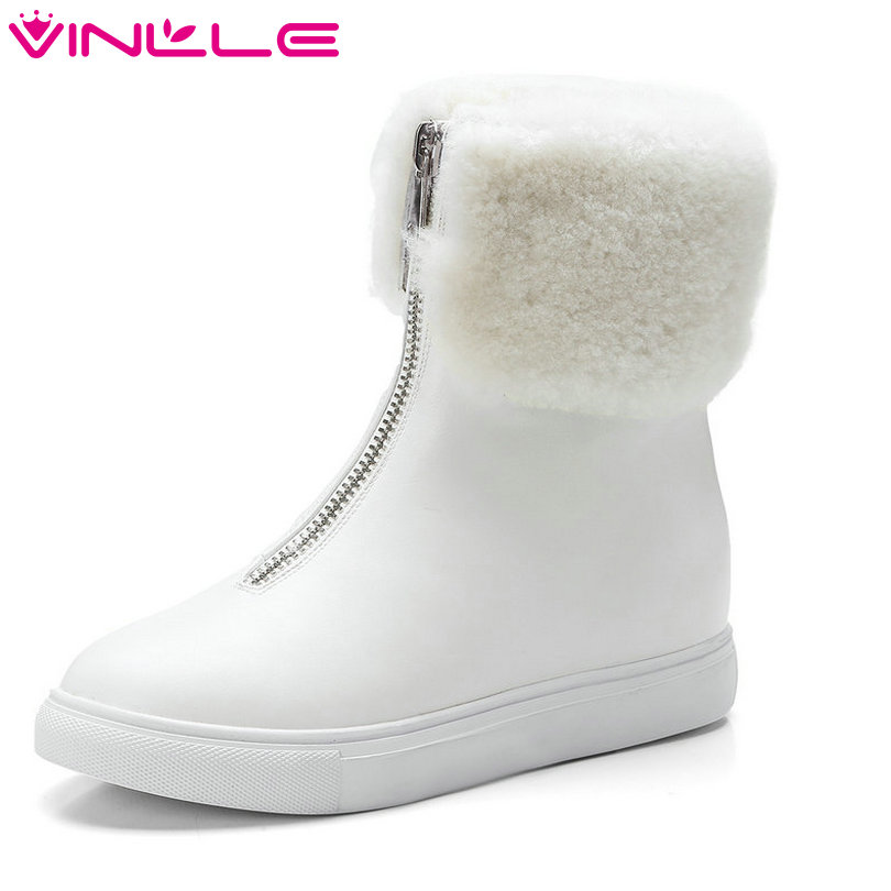 VINLLE 2018 Women Boots Ankle Boots Wedge Med Heel PU Leather Pointed Toe Zipper Snow Boots Ladies Motorcycle Shoes Size 34-43 nayiduyun women genuine leather wedge high heel pumps platform creepers round toe slip on casual shoes boots wedge sneakers