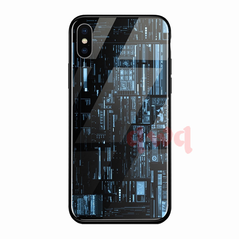 Circuit Board Tempered Glass Hard Back Phone Cases For Iphone 6 6S 7 8 Plus Full Cover For iphone X XR Xs Max TPU Soft Edge Case-F