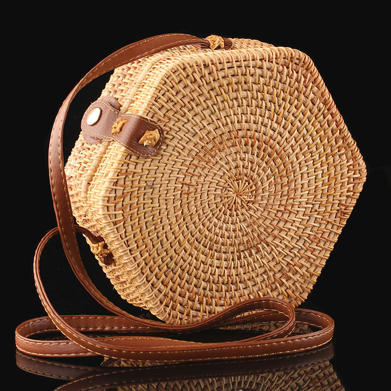 Summer Bali Hand-Woven Rattan Bag Embroidery Shoulder Crossbody Bags Beach Straw Bag Bohemian Knitting Circular Handbags