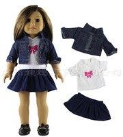 Новый дизайн 3 шт. 1 компл. 18 дюймов American Girl Doll Одежда Джинсы для женщин платье джинсовые куклы комплект одежды для 18 дюймов девушка Куклы