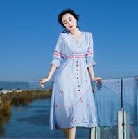 2018 новый летний Этнический цветок вышивка платья Для женщин sexy v образным вырезом Flare рукавом богемный праздничное пляжное платье s1895