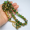 Free shipping   green color  crystal islamic 33 prayer beads Muslim  car home  office decoration Decor tasbih Allah  rosary gift