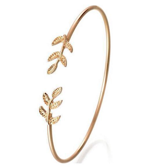European Personality Leaf Bracelet Opening Leaf Bracelet Adjustable Size Jewelry