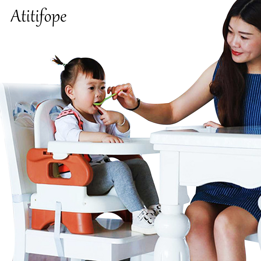 Купить с кэшбэком Baby Booster Feeding Seat Comfort Folding Booster Seat with Tray Baby Plastic Adjustable Dining Chair safety table chair