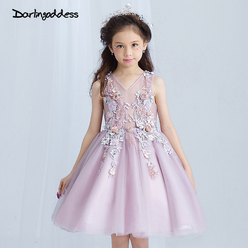Luxury Pageant Dresses For Girls Glitz 2017 Flower Girl Dresses Purple Ball Gown See Through First Communion Dress For Girls