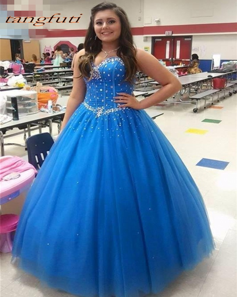 d65c9a1f1e Ball Gown Long Quinceanera Dresses Gowns Party Prom With Crystals Beaded  Tulle Sweet 16 Dress 15 Years Vestidos De 15 Anos