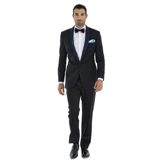 2019 Black Wedding Suits For Men Groom Tuxedos Jacket Pant Bow Tie