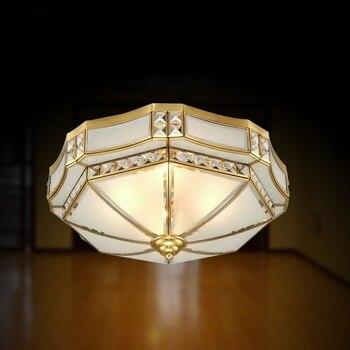 Europejski żelaza + szklana lampa sufitowa luksusowe sypialnia salon Hotel o podwyższonym standardzie lampa sufitowa D35/45/55 cm okrągły u nas państwo lampy ZA