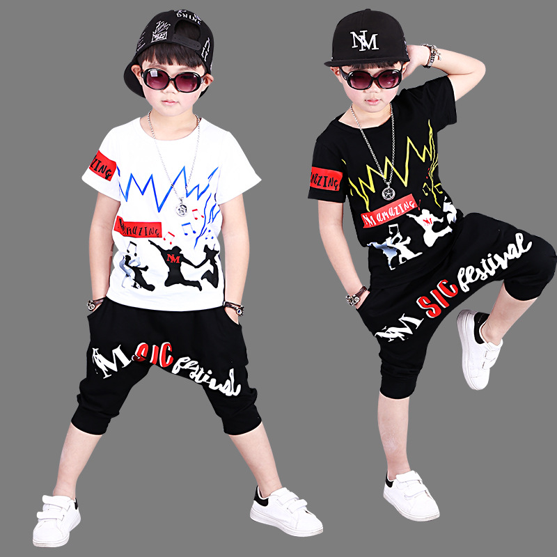 2018 Summer Kids Clothes Set For Boy Children Hip Hop Clothing Toddler Boys Clothing Set Summer Baby Suit Shorts T Shirt Pants summer baby boys clothing set cotton animal print t shirt striped shorts sports suit children girls cartoon clothes kids outfit