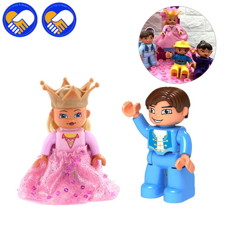 2pcs/set Big Size Action figures In Blocks Compatible DUPLOES Prince kingdom princess Br ...