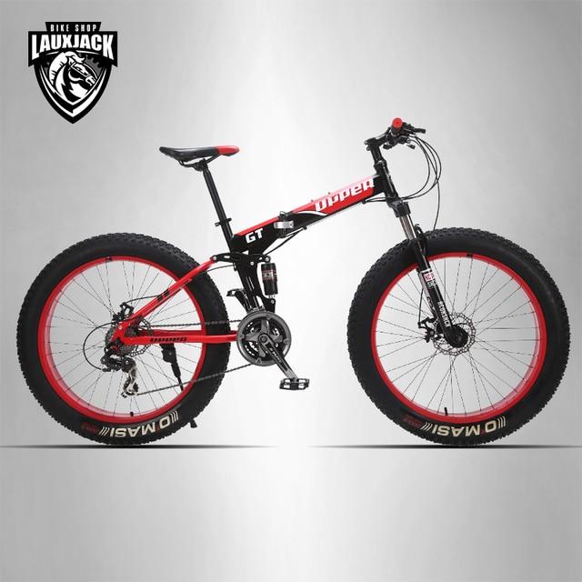 GT UPPER Mountain Fat Bike Full Suspension Steel Foldable Frame 24 ...