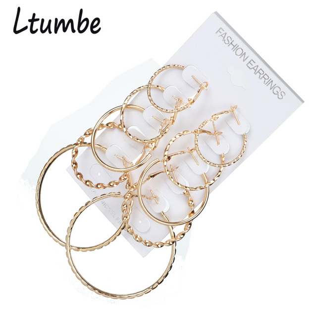 Ltumbe Oversize Gold Color Circle Hoop Earring Sets For Women Simple Punk Style Round Earrings