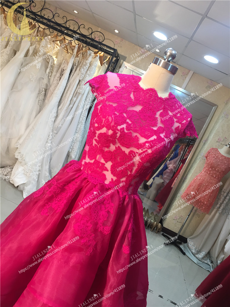Real Picture Rhine Hot Sale Red Cap Sleeves Lace Top Nude Inside Front short Long Back Organza Party dresses Graduation Dresses