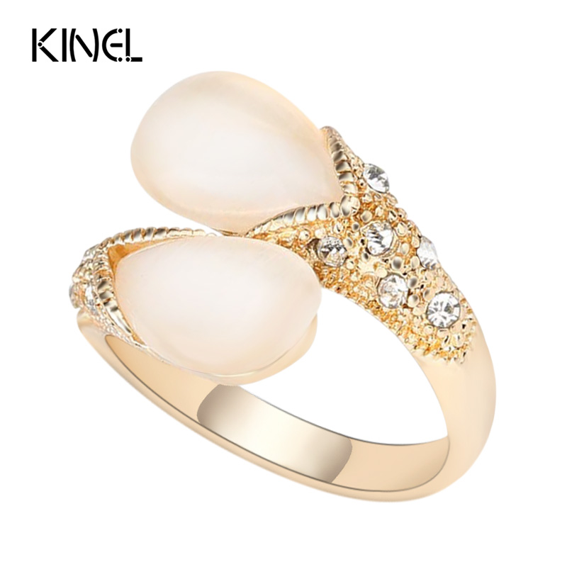 Luxury Wedding Ring Water Drop Opal Rings For Women Silver Color Jewelry Love Cross Crystal Gift New 2018