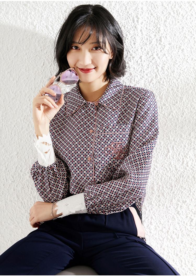 Твил топ в клетку 100% шелковая блузка Для женщин рубашка с длинными рукавами женские Топы корейской моды Костюмы Хаундстут в блузы в горошек