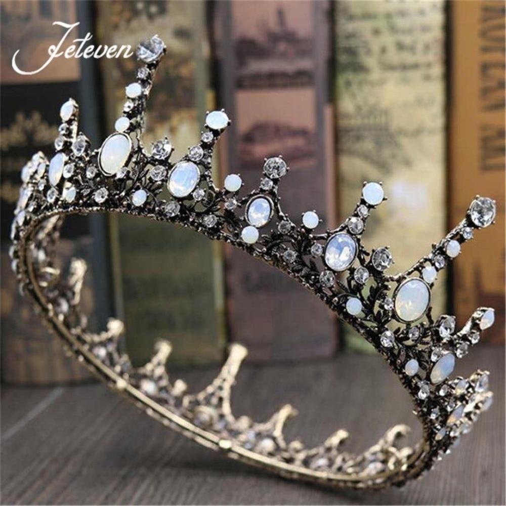 Crowns full circle round tiaras rhinestones crystal wedding bridal - Vintage Baroque King Queen Prom Bronze Opal Rhinestone Crystal Crown Tiara Round Circle Wedding Bridal Headband