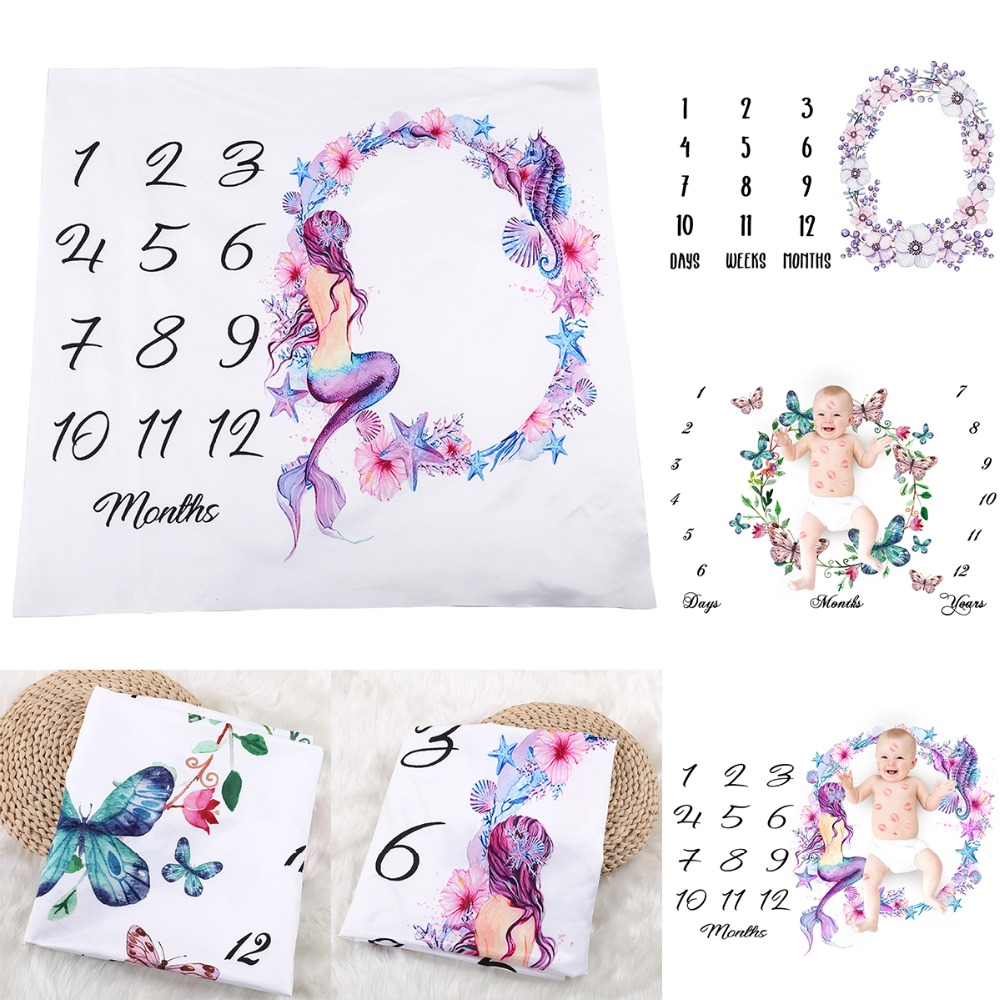 Puseky 2018 Newborn Baby Milestone Blanket Photography Prop Background Flower Monthly Growth Shooting Photo Bedding Wrap Swaddle