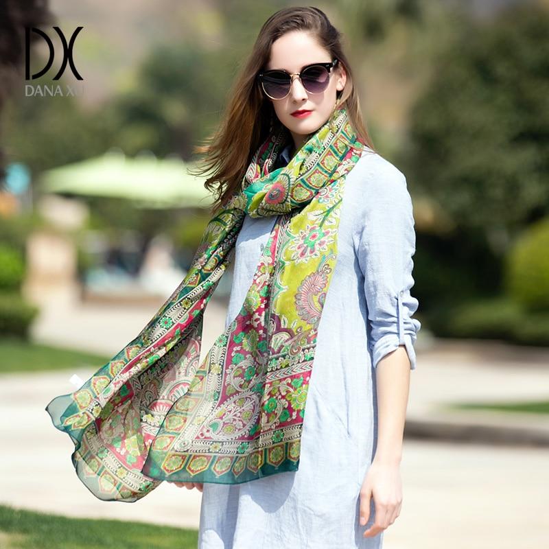 100% Silk Women Scarf Wrap Fashion Pashmina New Design Long Shawl Cape Chiffon Tippet Muffler Scarves Mask Hijab Face Shield