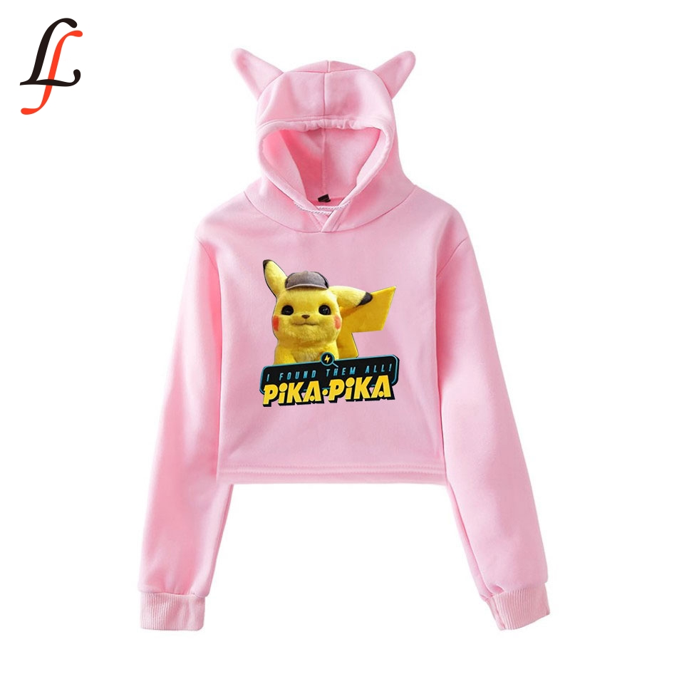 Cat Ear <font><b>Cap</b></font> <font><b>Sexy</b></font> Hoodies Fashion Trend Cat Crop Top Women Hoodies Sweatshirt Harajuku <font><b>Sexy</b></font> Hot Pikachu Print K pop Clothes image