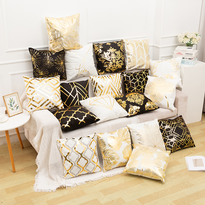 RULDGEE Gold Pillow Case Black And White Golden Painted Pillowcase Decorative Christmas Cushion Cover For Sofa Case Pillows