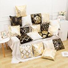 Funda de almohada RULDGEE dorada pintada en blanco y negro, funda de almohada decorativa, funda de cojín de Navidad para funda de sofá, almohadas