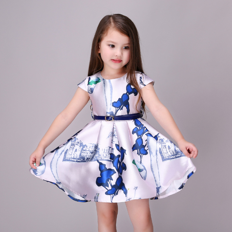 2017 summer new high quality fashion baby girls tutu princess dress print short-sleeve o-neck children clothes free shipping
