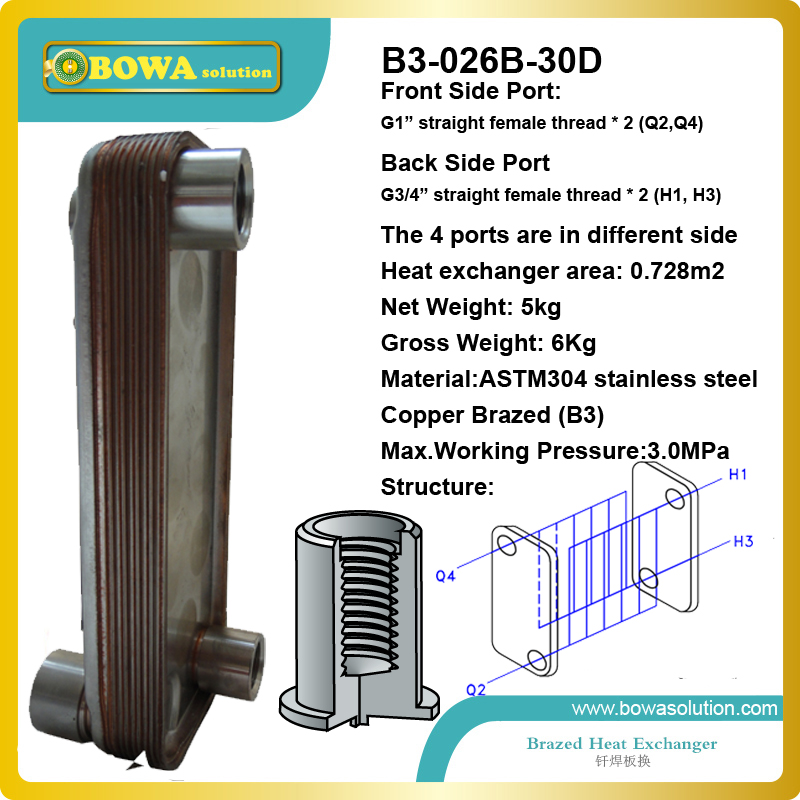 B3-026-30D copper brazed Stainless Steel Plate heat exchanger for air source  water heater or water cooled refrigeration unit 28 plates heat exchanger as 14kw evaporator of air source or water source water chiller replace spx plate heat exchanger