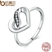 BAMOER Authentic 925 Sterling Silver Ribbons Of Love Clear CZ Finger Ring Women PA7616