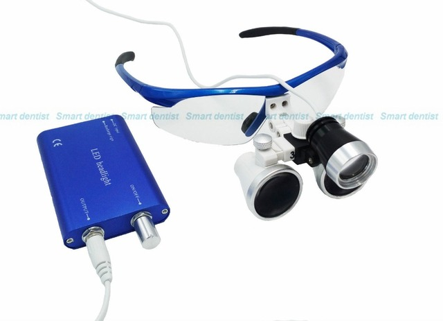 2016 NOVA Dental Cirúrgica Lupas Binoculares Médica 3.5X420mm + 3 W LED Head Light Lâmpada Azul