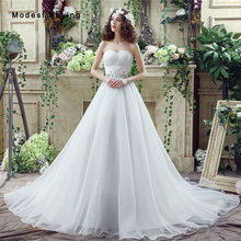 Sexy White A-line Sweetheart Beaded Lace Wedding Dresses 2017 Formal Women Long Plus Size Bridal Gown vestido branco Custom Made