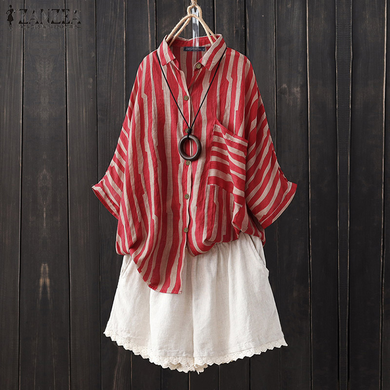 Summer Lapel Neck Blouse ZANZEA Vintage Striped Shirt Women 3/4 Sleeve Buttons Work Tops Robe Femme Loose Blusas Casual Chemise