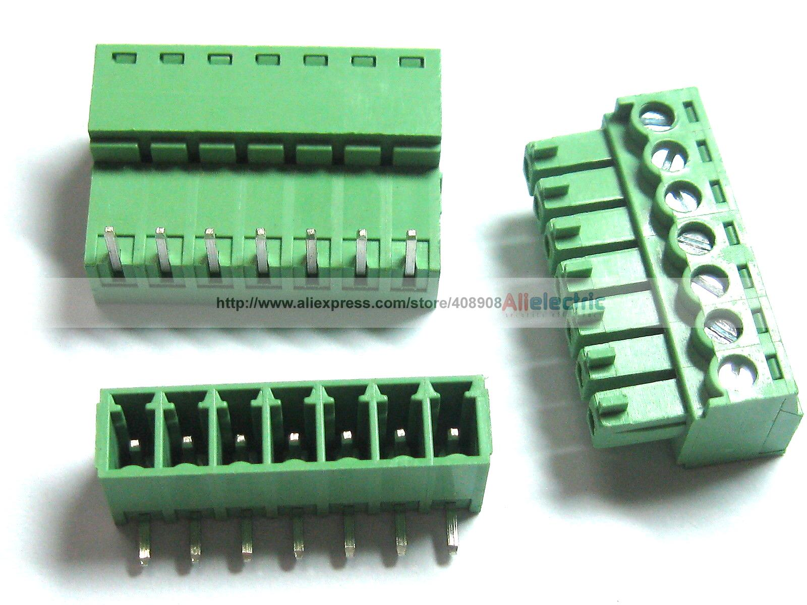 цена на 150 Pcs Screw Terminal Block Connector 3.5mm Angle 7 Pin Green Pluggable Type