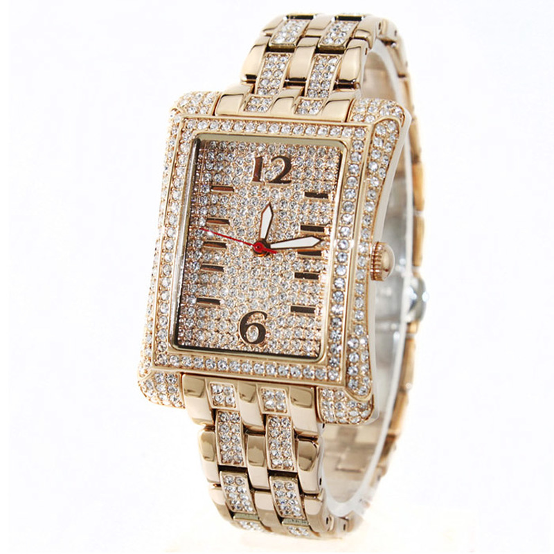 24K Gold Full Diamond Watch Female Luxury Quartz Watch Woman Dress Watches Top Brand Ladies Steel Table Waterproof Clock Fashion burei woman watch top fashion brand female clock diamond sapphire mechanical wristwatches gold steel band waterproof watches hot