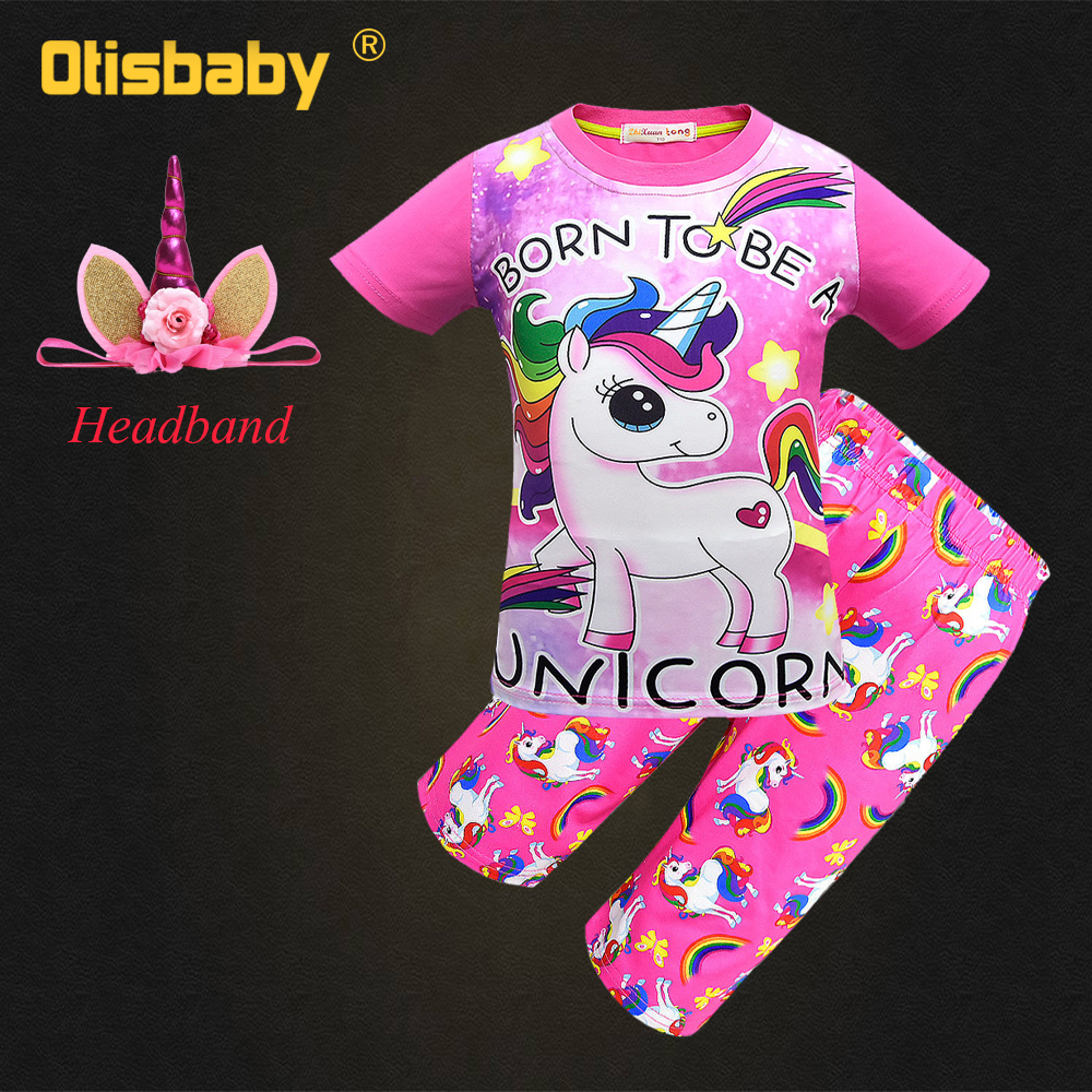 Girls Unicorn Pajamas Sets 100% Cotton Nightwear Summer Short Sleeve Pyjamas Pink Christmas Rainbow Nightclothes Pony Sleepwear