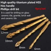 YOFE 4pcs Twist Drill Bit Set For Tungsten Carbide Glass Titanium Plated Hex Headle HSS Cross