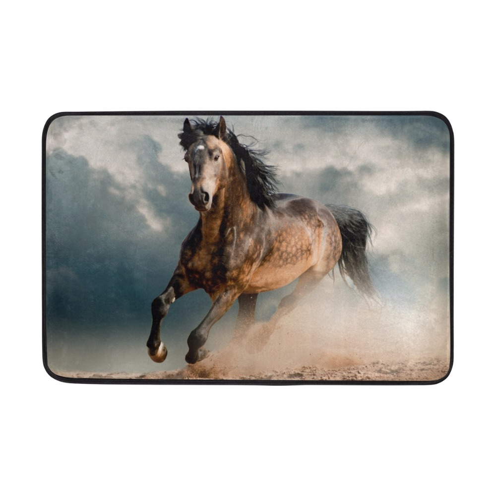Welcome Floor Mats Personality Design Galloping Horse Entrance Door Mat Bathroom Kitchen ...