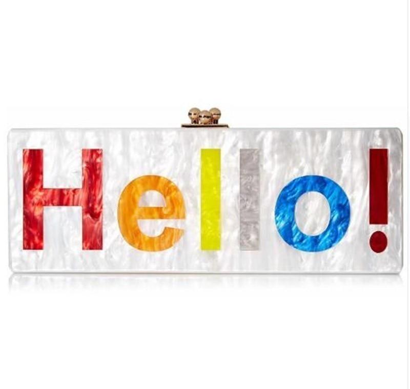 [Telastar] perle blanc acrylique sac coloré lettre bonjour imprimer nom sac Chic personnel acrylique sac à main sacs soirée dame pochette
