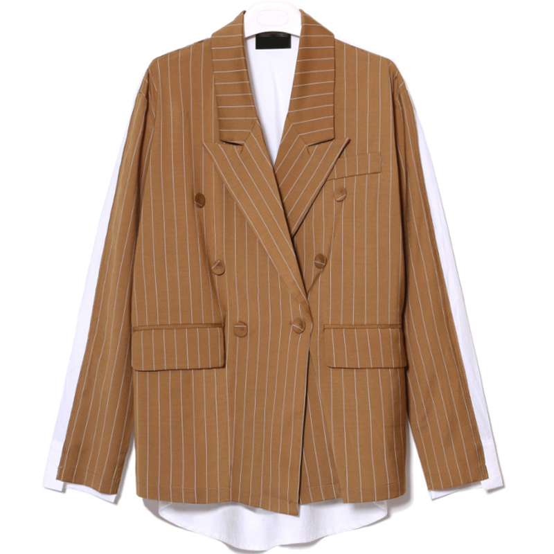 Spring Fashion Trend New Stripe Loose Cotton Spliced Double Buckle Coat Woman 2 Color Y22607