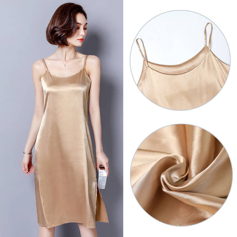2019 New Satin Petticoat Women Dress Full Slips Ladies Sleveeless Summer Camisole Under Dress Underdress Lady M Xl AD0820 in Full Slips from Underwear Sleepwears