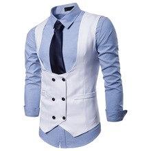 Двубортная мужская жилетка модный твидовый жилет без рукавов Colete Masculino Мужской приталенный Свадебный деловой жилет