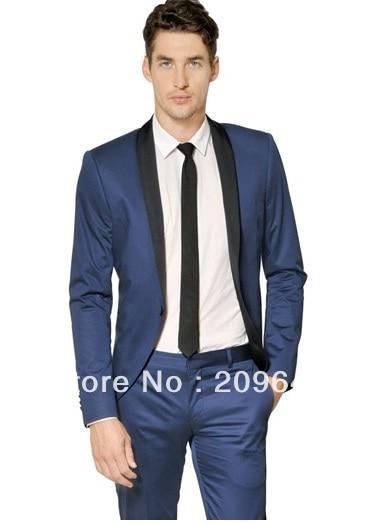 Online Shop Wholesale Fashion Groom Men Dark Blue Tuxedo Black