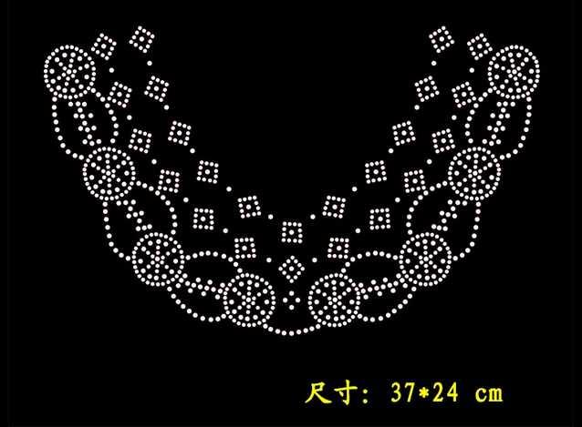 2 개 / 몫 큰 neckline 장식 핫픽스 모조 다이아몬드 철 패치 모조 다이아몬드 아플리케 철 모조 다이아몬드 전송 디자인