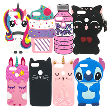 Luxury Soft Case For Huawei P Smart 3D Cute Cartoon Unicorn Cat Pig Pink Silicone Phone Back Cover / Enjoy 7S