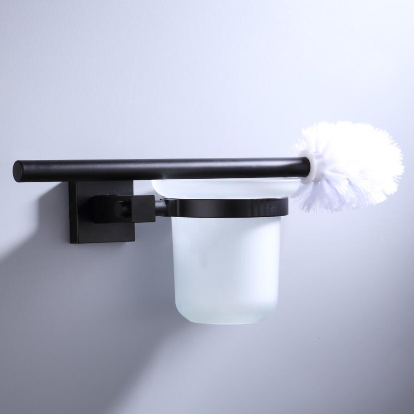 55CM Matte Black Double Towel Bars Bathroom Towel Hanger Space Aluminum Bathroom Accessories Towel Rack Towel Ring  Toilet Brush 3