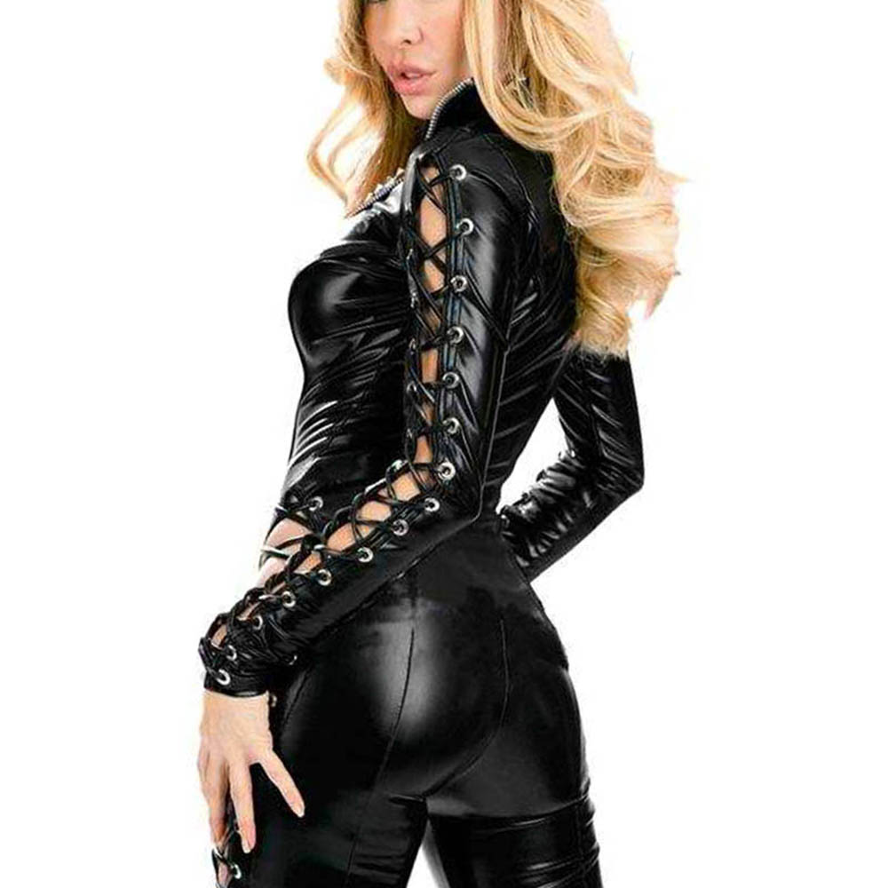 Sexy Wetlook Catsuit Faux Leather Jumpsuit Women Lace-up Bodycon - Dámské oblečení