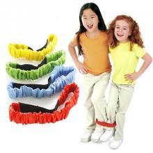 Дети два человека трехногие привязанные веревки к ноге бег Гонки Спортивные Игры Детские уличные игрушки малыш сотрудничество обучение