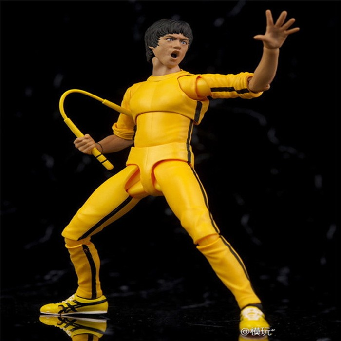 Bruce Lee Doll Toys Kungfu Master Figure sets Yellow dress 75th anniversary PVC Movable Figure toy gift 15cm image
