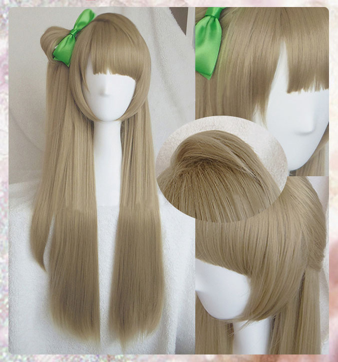 High Quality Anime LoveLive! Love Live Kotori Minami Wig Halloween Hair Cosplay Costume Wigs + Green Bow Hairpin