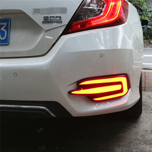 Car Flashing 2pcs For Honda Civic 2016 2017 LED DRL Rear Bumper tail light fog lamp Brake Lights Signal lamp DRL reflector(China)